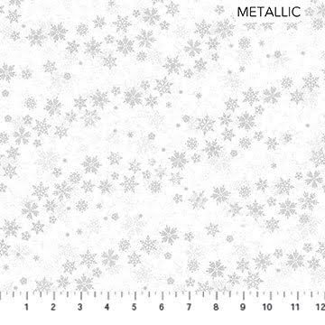 Northcott Shimmer Frost Blowing Snowflakes White/Silver Metallic