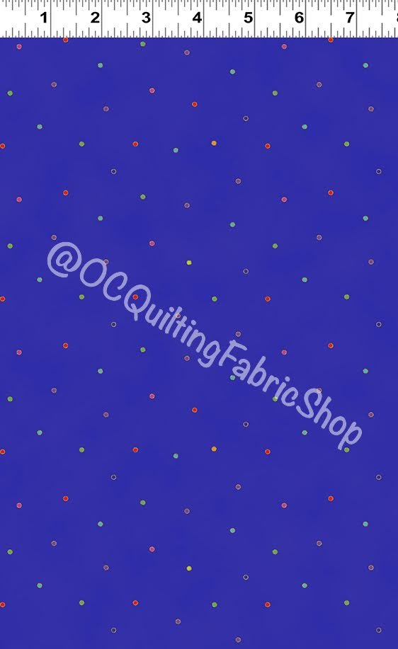 Clothworks Celestial Magic Dots Dark Royal Blue Metallic