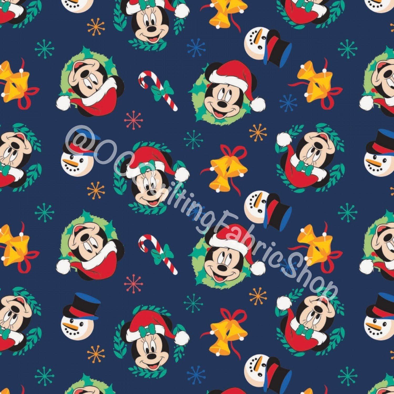 Camelot Fabrics Character Winter Holiday 2 Mickey Joy To The World Navy