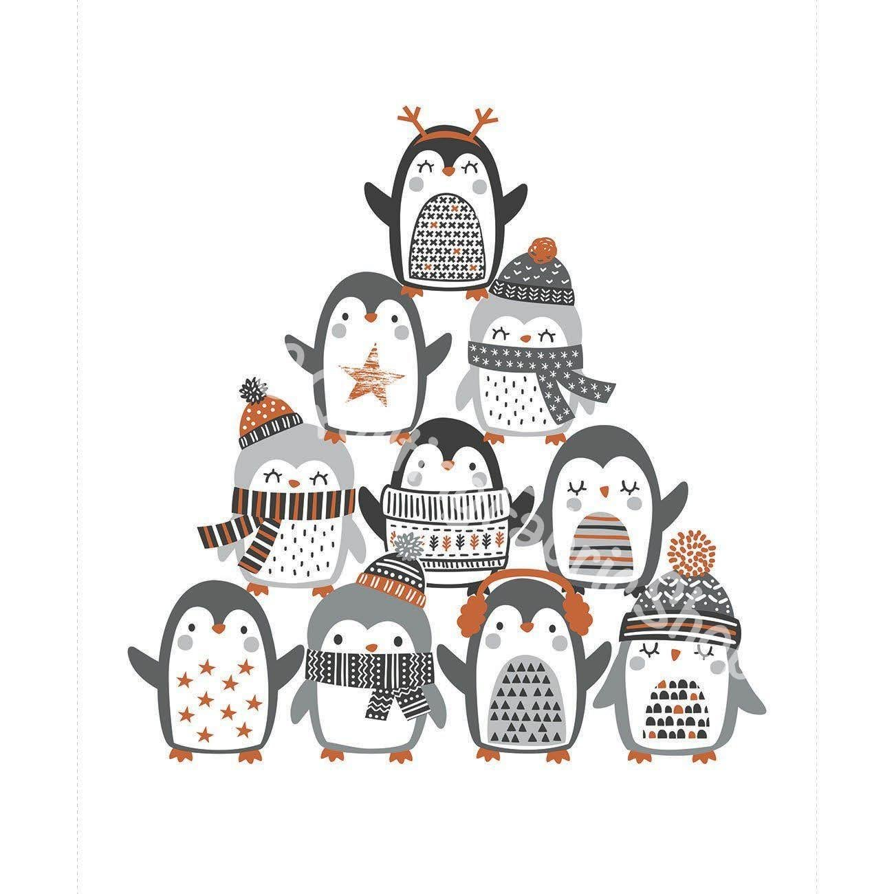 Camelot Penguin Paradise Panel  White 36 inches