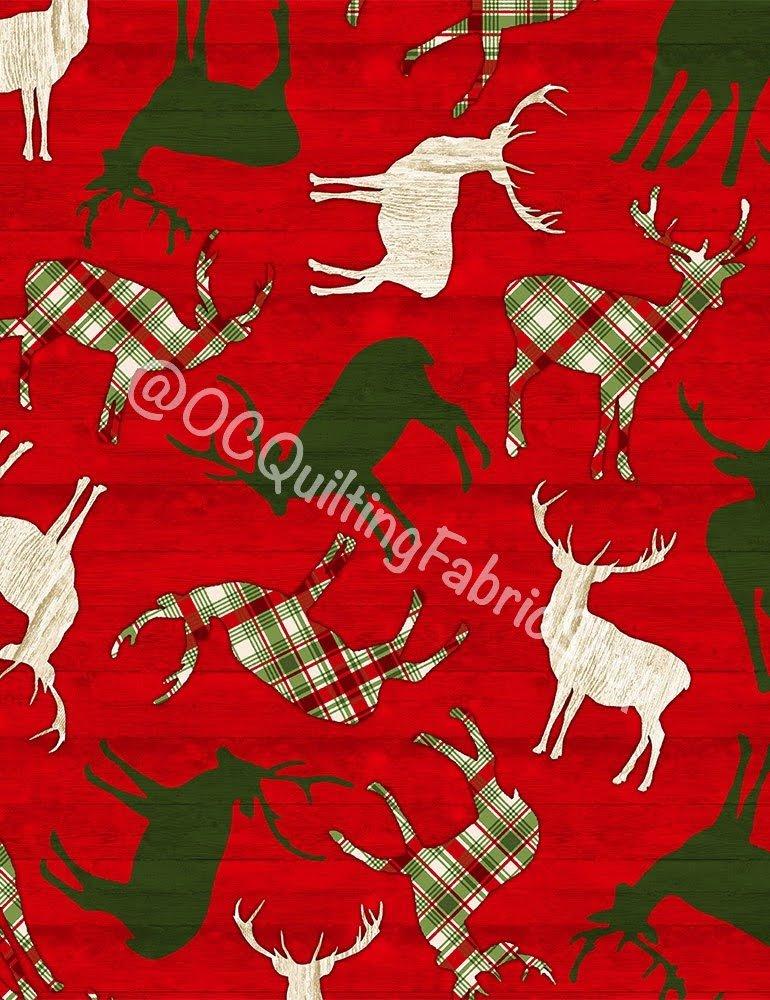 Timeless Treasures Tossed Reindeer On Red Wood