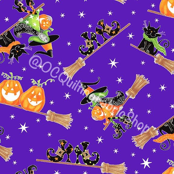 Henry Glass Here We Glow Flying Witches Purple Glow In The Dark Fabric