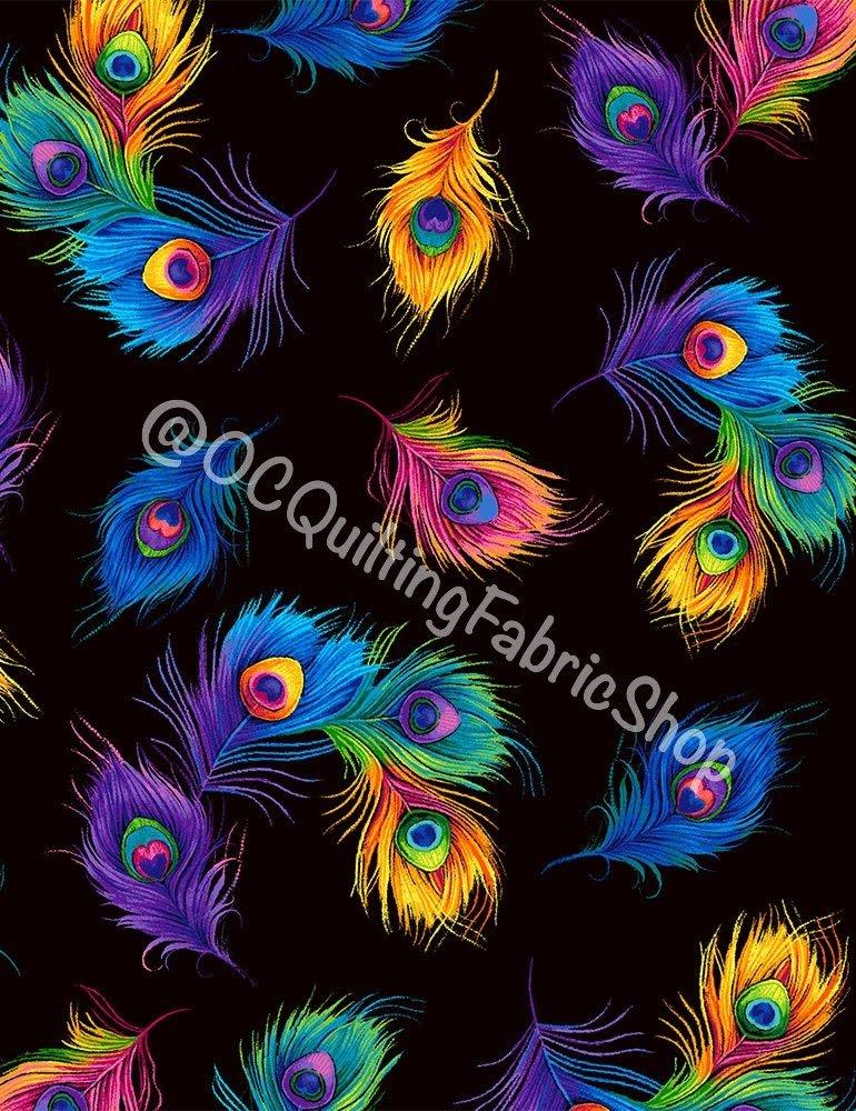 Timeless Treasures Tossed Rainbow Peacock Feathers Black