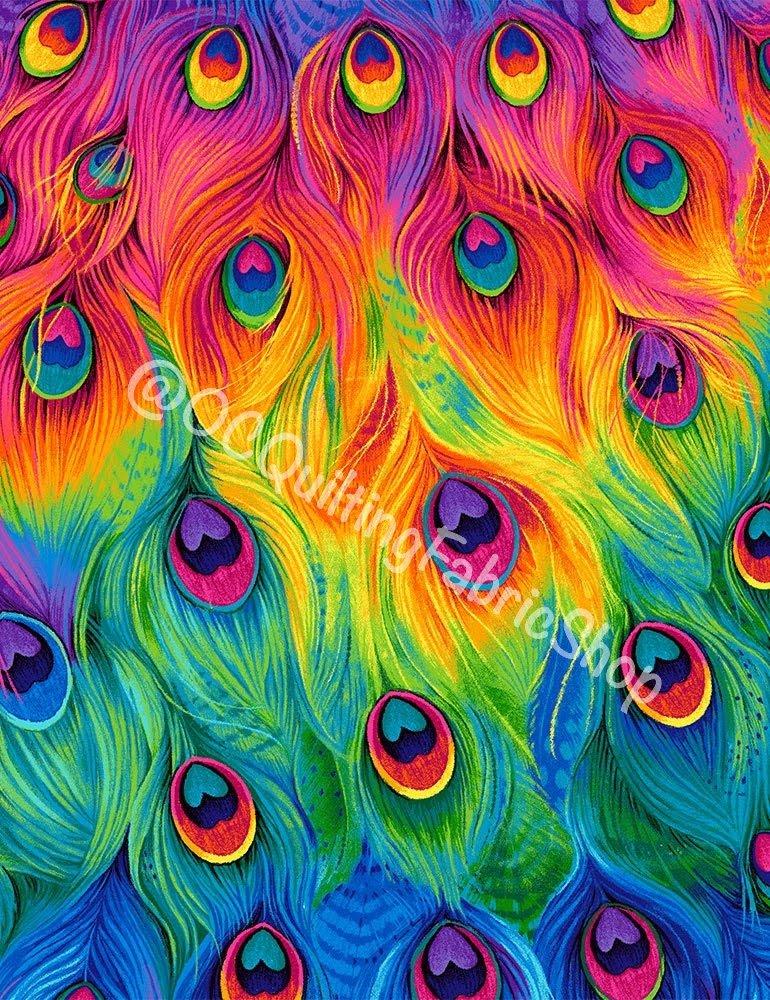 Timeless Treasures Packed Rainbow Peacock Feathers Multi