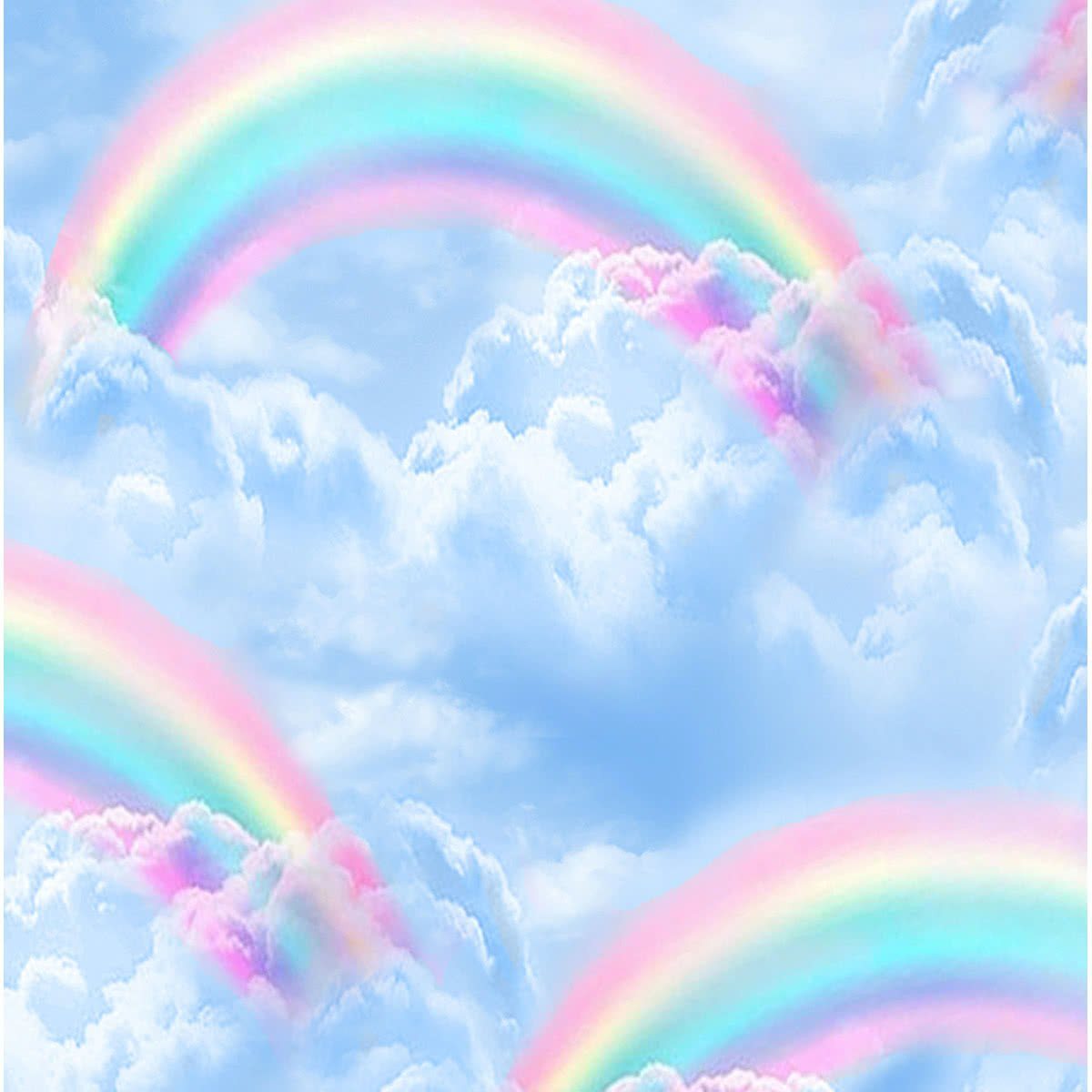 Timeless Treasures Double Rainbows in the Sky Blue