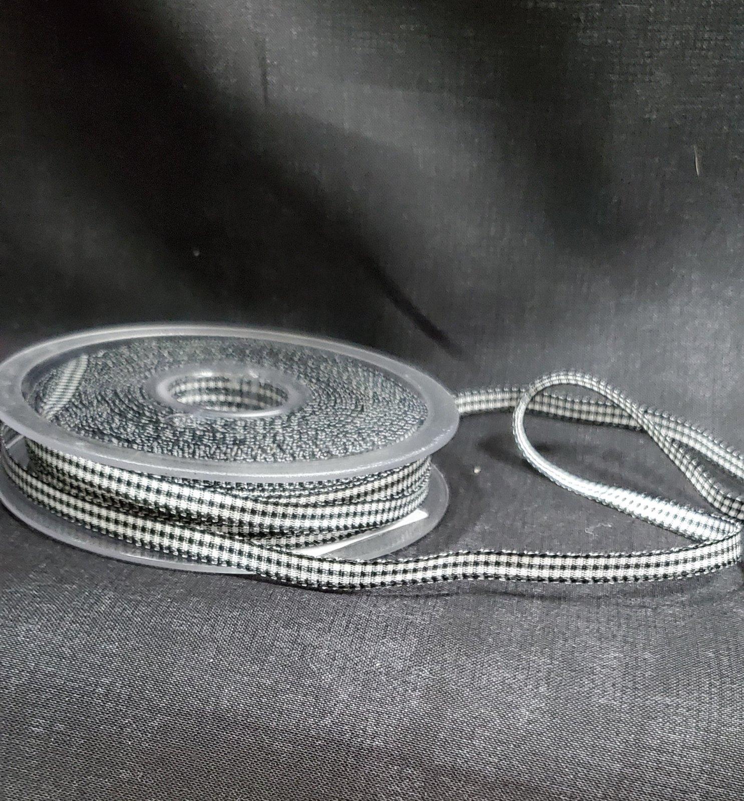 Polyester Gingham Ribbon 5mm Black 014
