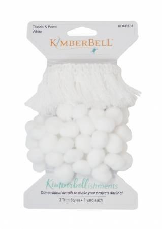 Kimberbell Tassels & Poms White 2 Trims 1yd