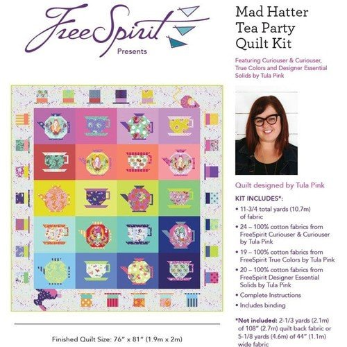 Tula Pink - Quilt Kit - Mad Hatter Tea Party - 76 x 81 - Factory Cut & Packaged - Free Shipping