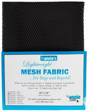 By Annie - Lightweight Mesh Fabric - Black - 18 x 54