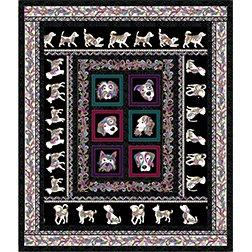 Dog Walk Black Lap Quilt Kit 69: x 81