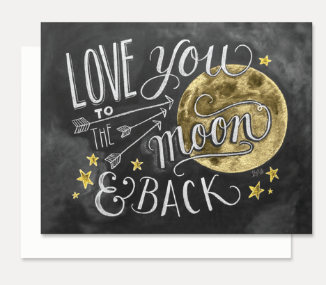 Greeting Card Love To The Moon