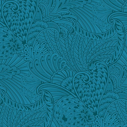 Opulence Tonal Dark Teal Peacock Flourish