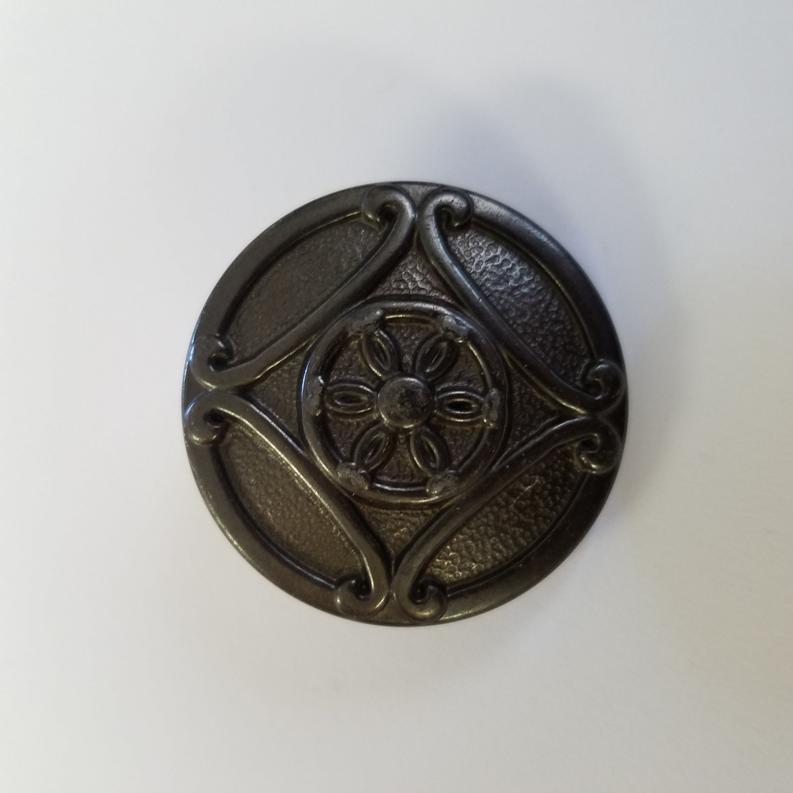34 MM Large Round Metal Embossed Button