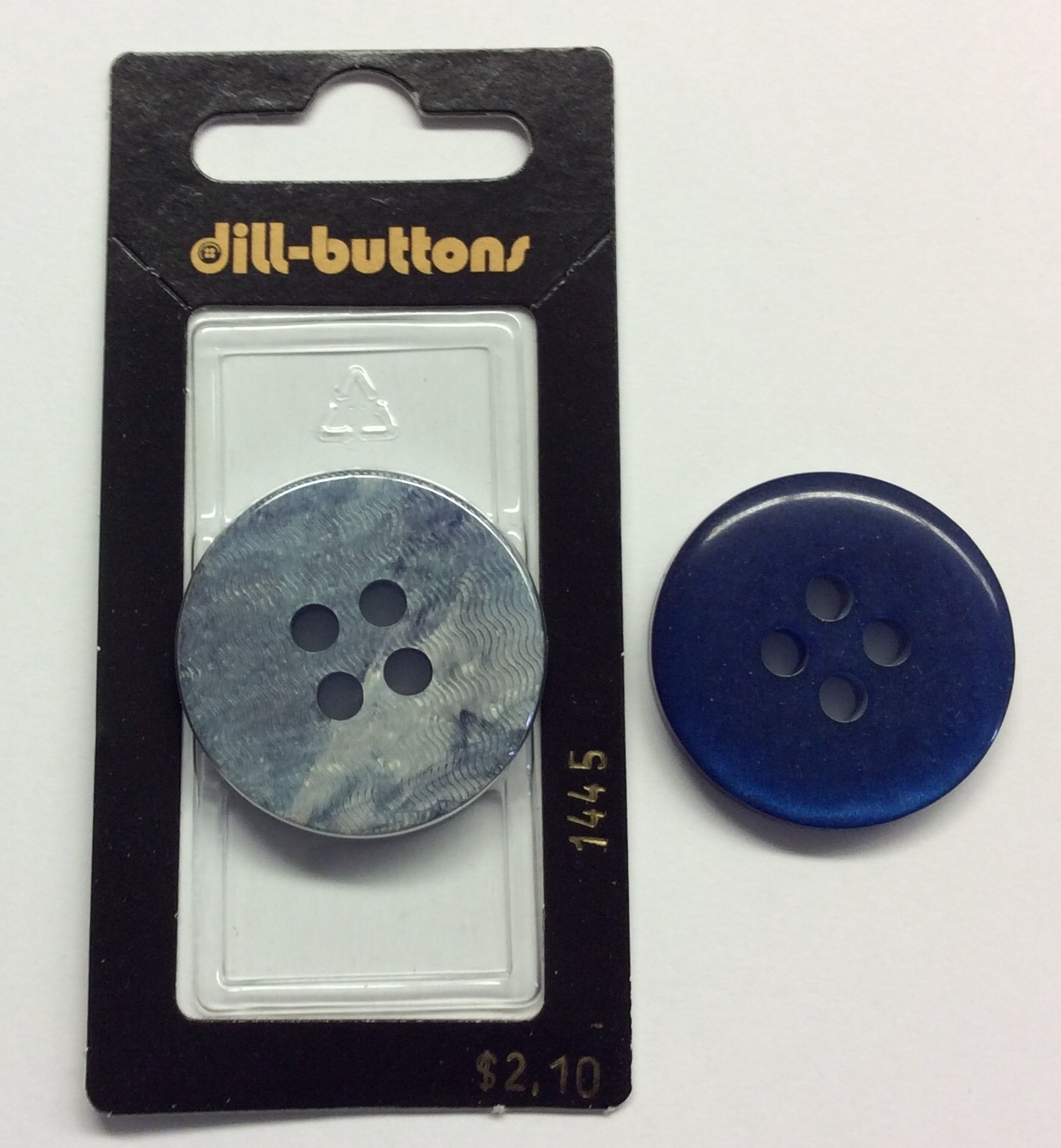 Blue Reversible Polyester Button 30mm-Blue