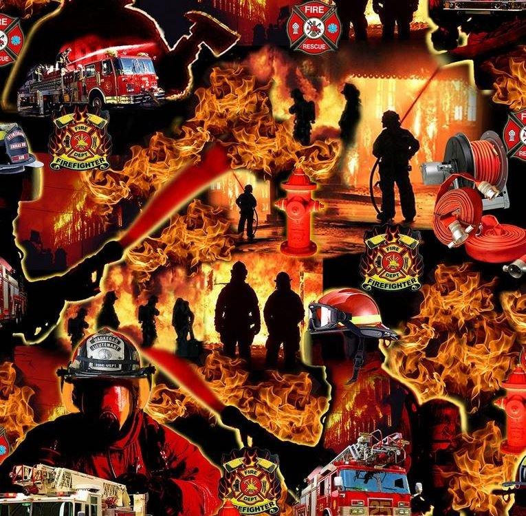 Under Fire Allover Scenic Red