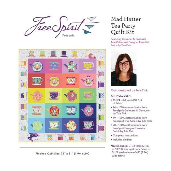 PRE ORDER: Mad Hatter Tea Party Quilt Kit - Curiouser & Curioser - Tula Pink - Free Spirit