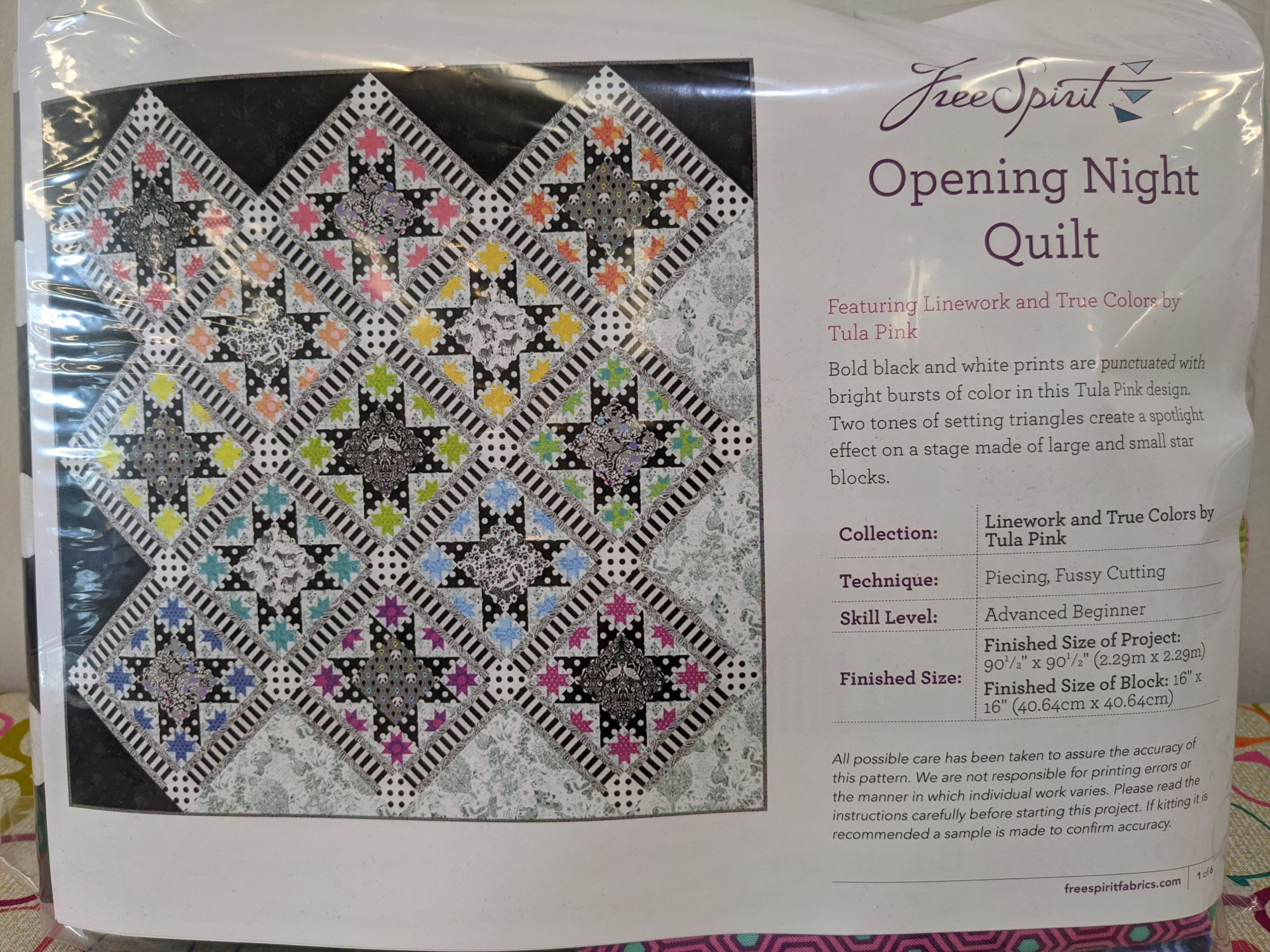 Opening Night Quilt kit/TP/Linework