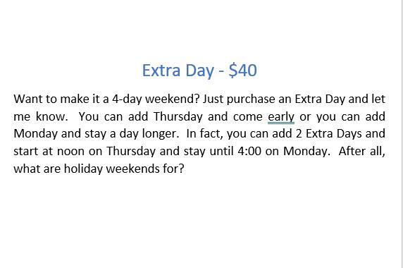 Retreat - Additional Day