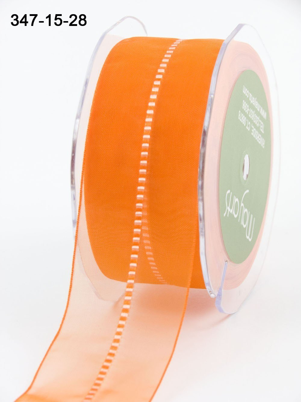 May Arts- 1.5 Inch Sheer with Center Satin Stitch Ribbon with Woven Edge CLICK PICTURE TO SEE COLORS