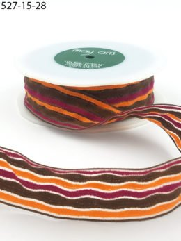 May Arts 1.5 Inch Multi-Color Fuzzy Striped Ribbon with Woven Edge