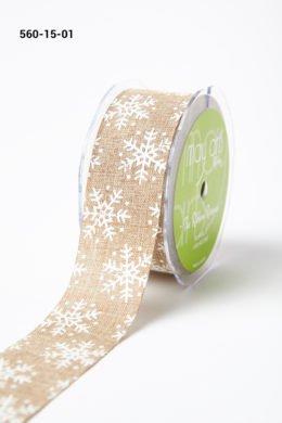 May Arts 1.5 Inch Faux Jute Snowflake Print Ribbon with Cut Edge