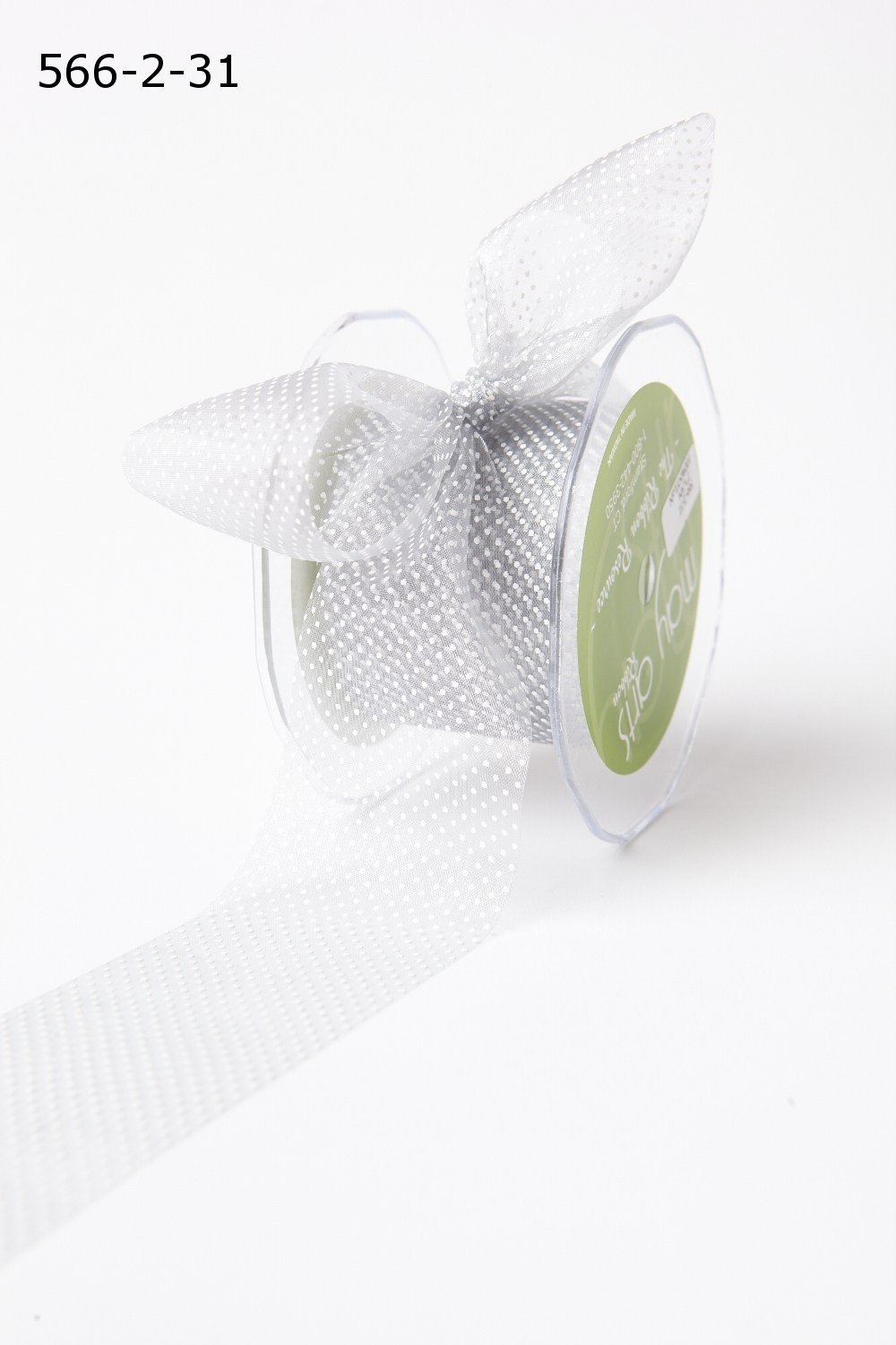 2 Inch Shimmer Sheer Mini White Dot Ribbon with Cut Edge