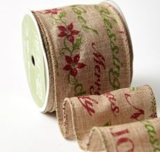 Deck The Halls Collection  5 Yards Holiday Sentiment Faux Burlap Wired Ribbon