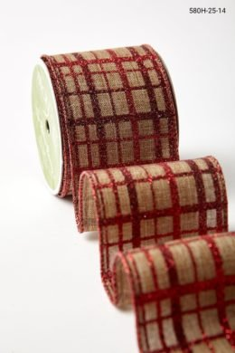 Deck The Halls Collection 5 Yards Red Glitter Gingham Wired Ribbon
