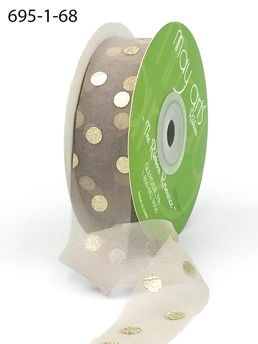 1' Sheer Metallic Defined Polka Dot Ribbon with Unfinished Edge