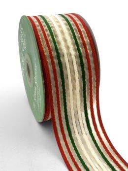 May Arts 2 Inch (50mm) Woven Christmas Stripes Organza Ribbon