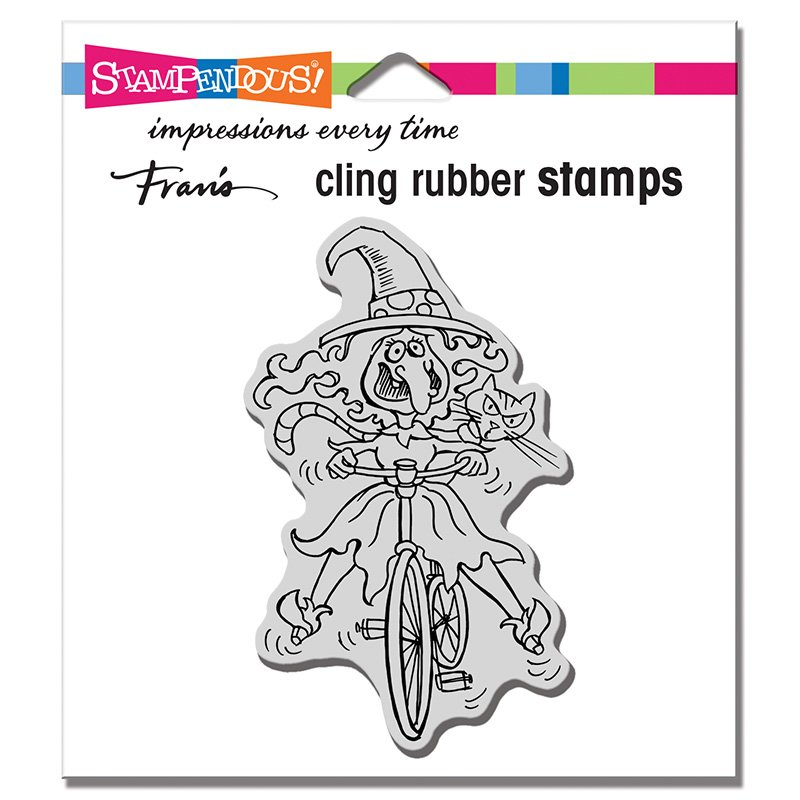 Wobbly Witch Rubber Stamp