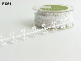 May Arts 3/4 Inch Satin Cut Out Banner Ribbon - White Snowflakes