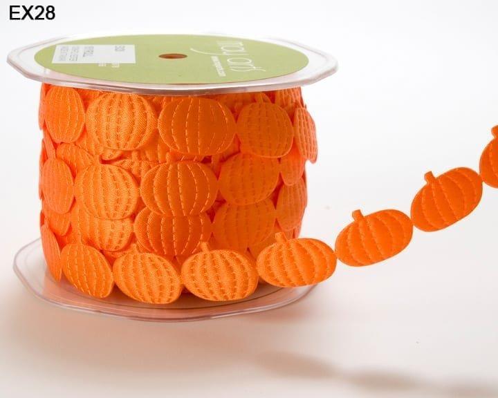 May Arts 3/4 Inch Satin Cut Out Banner Ribbon - Orange Pumpkins