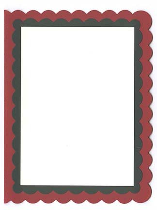 Scallop A-2 Double Layered Card Kit (B) - 5 ct Wild Cherry/Forest Green/Cream