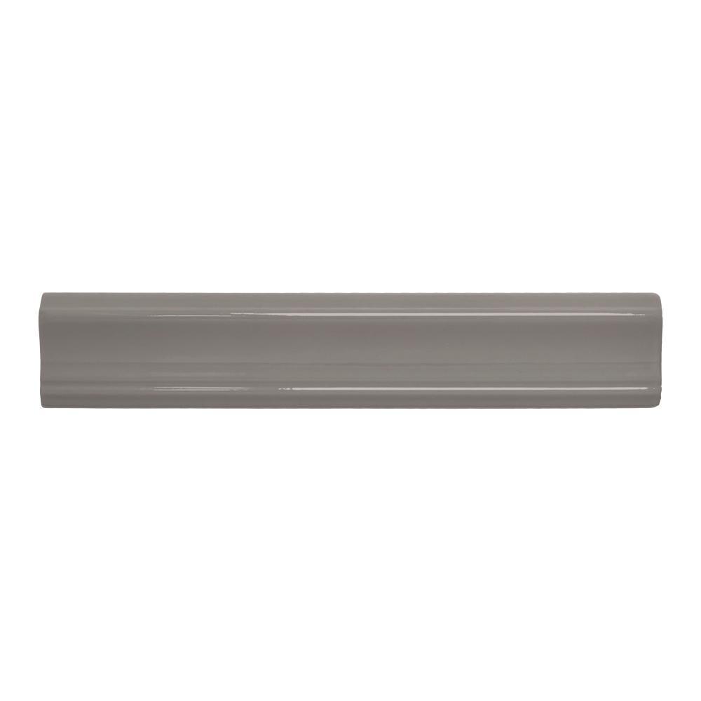 Misty Grey 2 in. x 12 in. Ceramic Crown Wall Tile
