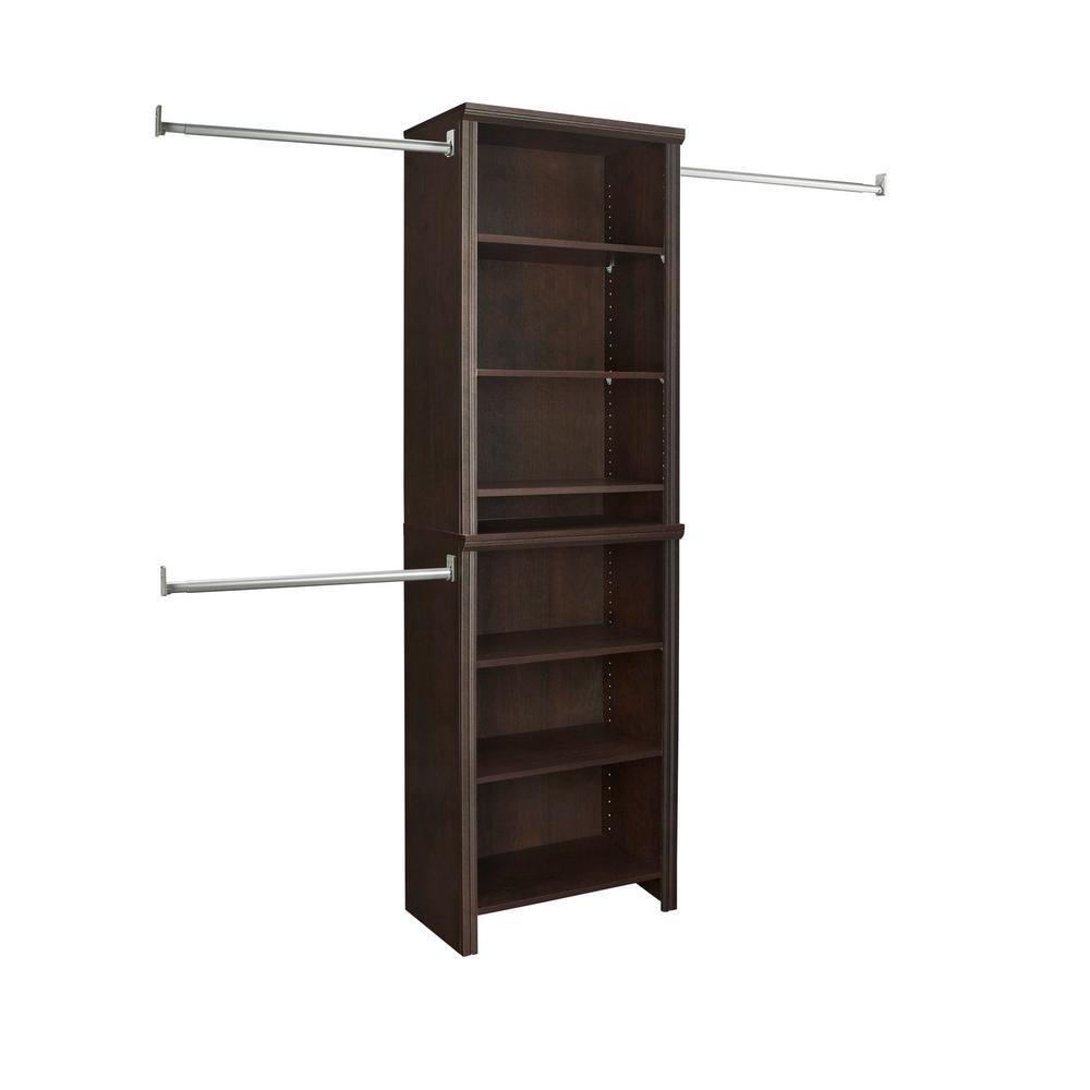 ClosetMaid Impressions 14.57 in. D x 25.12 in. W x 82.46 in. H Chocolate Standard Laminate Closet System Kit