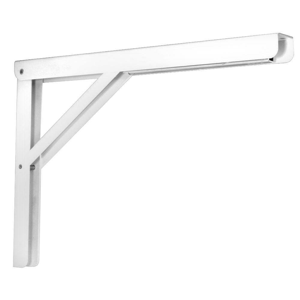 16 in. Heavy Duty Folding Shelf Bracket in White