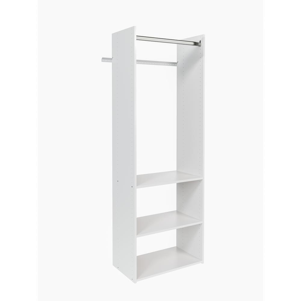 14 in. D x 25.125 in. W x 72 in. H Classic White Wood Closet System