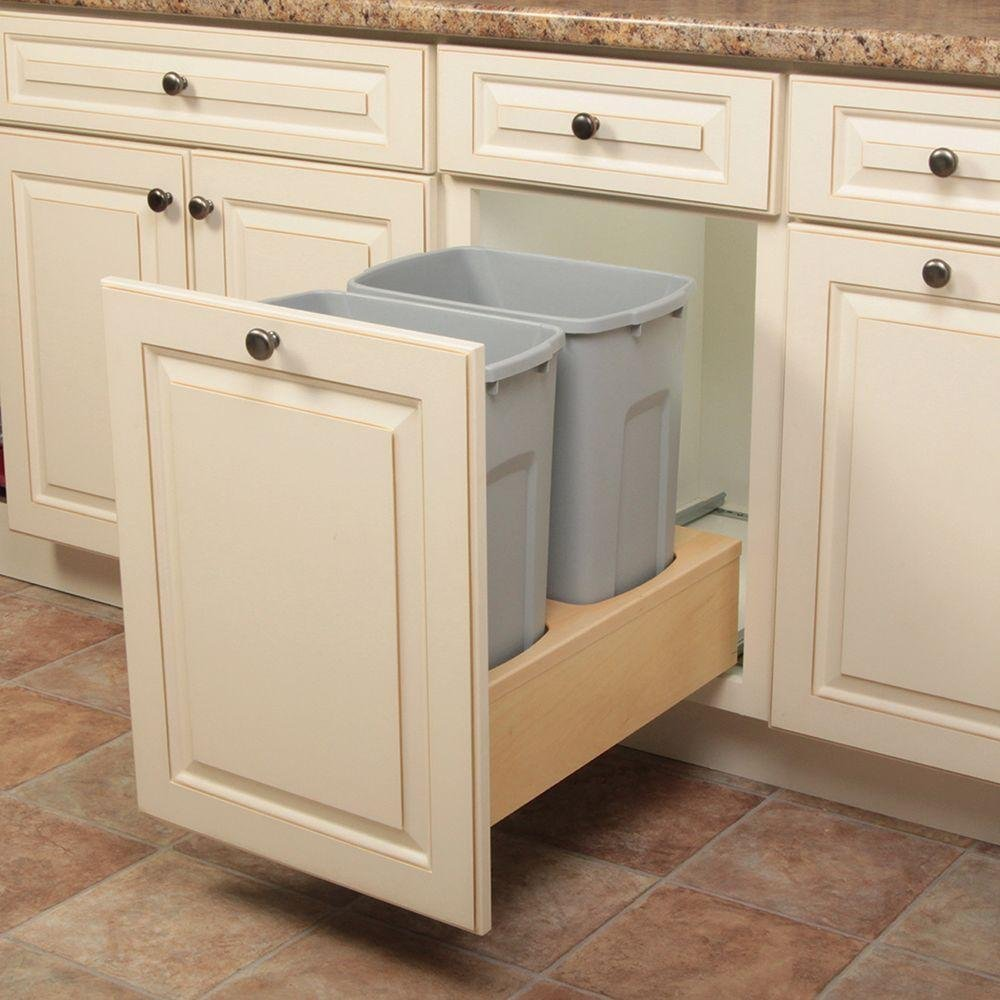 19 in. H x 14 in. W x 23 in. D Wooden 35 Qt. Undermount Double Soft-Close Pull Out Trash Can in Gray