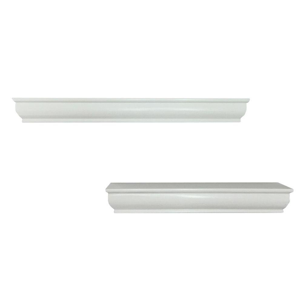 14/18 in. L x 1.75 in. W Profile Floating White Ledge (2-Piece)