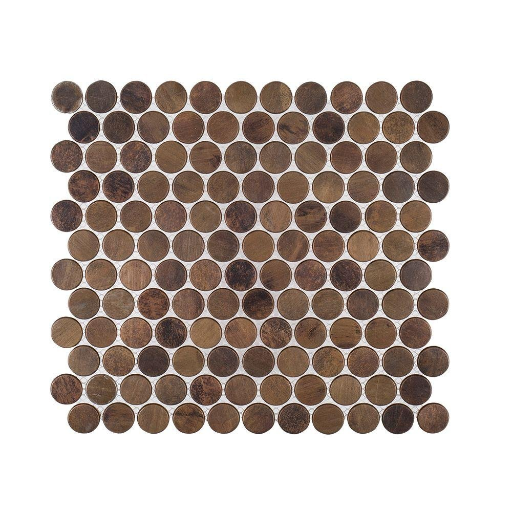 COPPER PENNIES 10X10 3/4 X 8MM METAL MOSAIC TILE