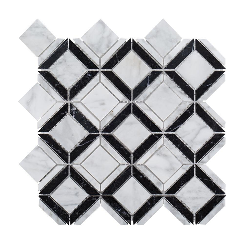 Carlyle Nero Marquina 11-1/8 in. x 11-1/8 in. x 8 mm Marble Mosaic Tile