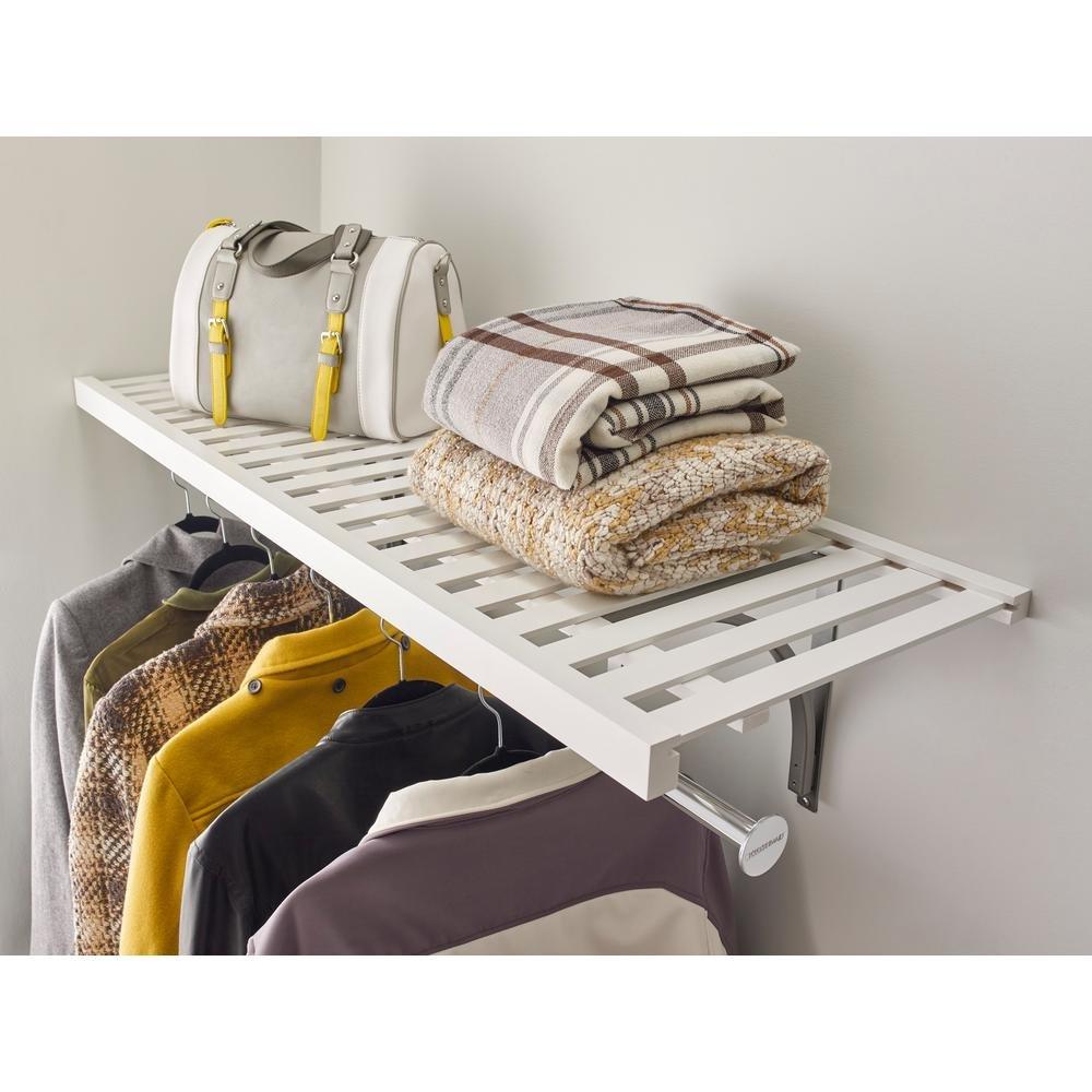 16 in. x 48 in. Ventilated Wood Shelf Kit in White