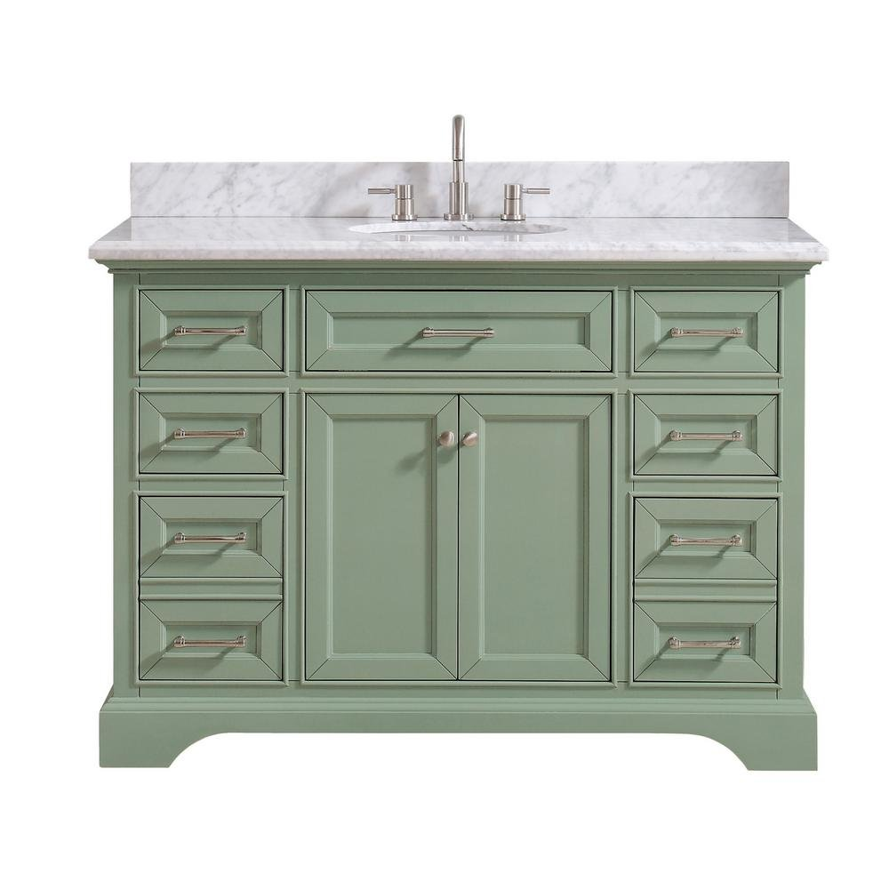 windlowe 49 w x22 dx 35 tall bath vanity w/carrera marble top