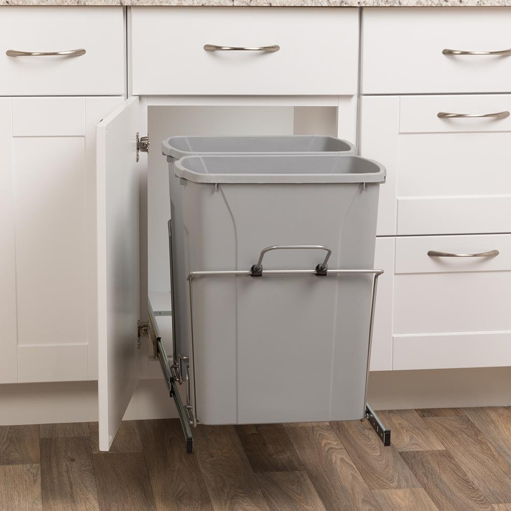 18-13/16 in. H x 14-3/8 in. W x 22 in. D 28.75 Qt. In-Cabinet Double Soft-Close Bottom-Mount Pull-Out Trash Can