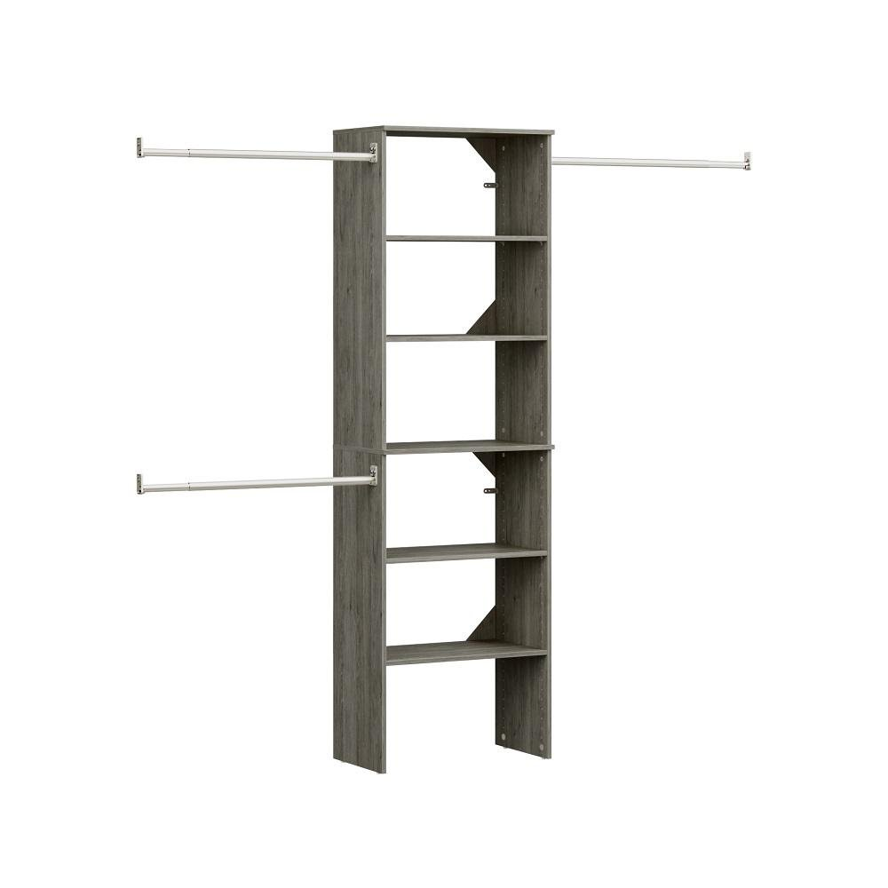 ClosetMaid View the Collection Style + 14 in. D x 25 in. W x 82.58 in. H Coastal Teak Wood Floor Mount 6-Shelf Closet Kit With Hang Rods