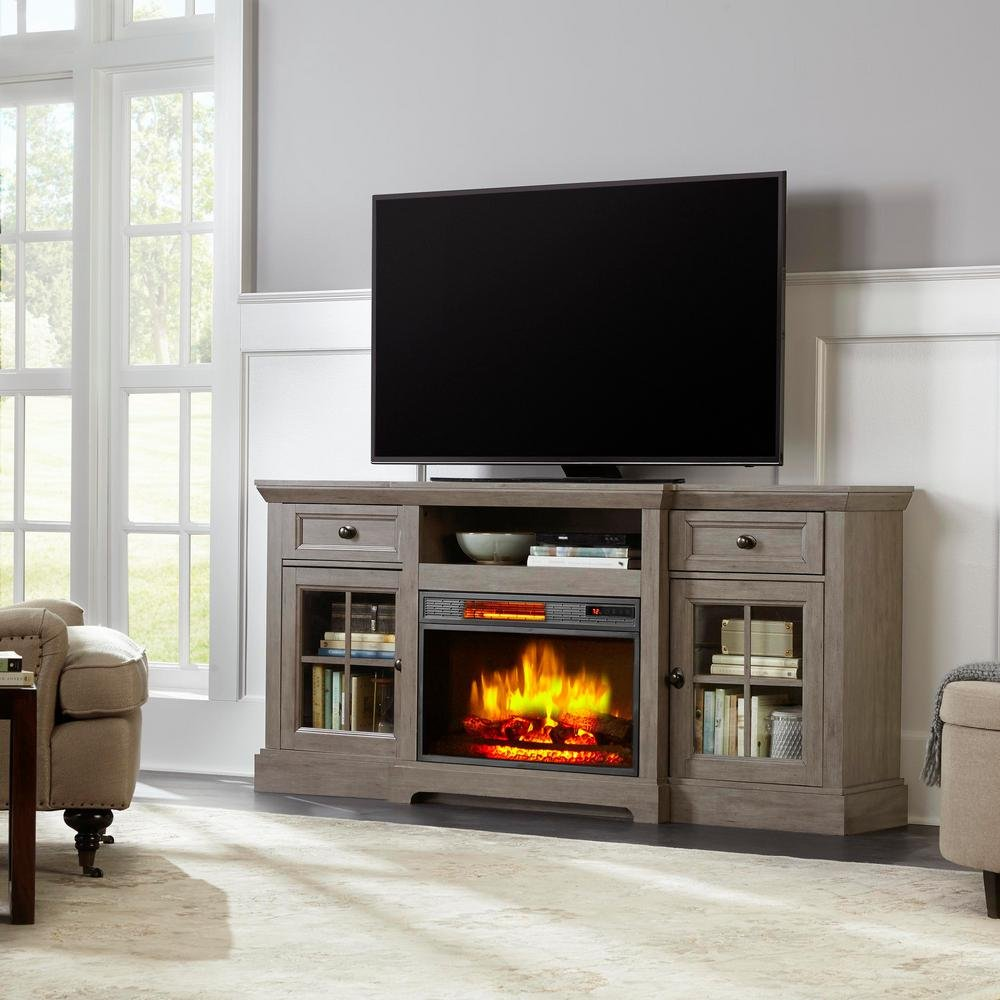 Home Decorators Collection Glenville 70 in. Freestanding Media Console Electric Fireplace TV Stand in Antique Gray