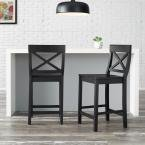 Cedarville Black Wood Counter Stool with Cross
