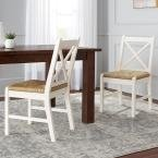 Dorsey Ivory Wood Dining Chair with Cross Back and Rush Seat (Set of 2) (17.72 in. W x 35.43 in. H) by Home Decorators Collection