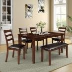 6-Piece Dining Set with 4 Ladder Chairs and Bench